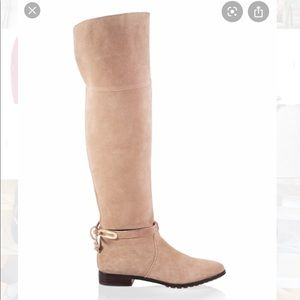 WHBM tan suede over the knee boots 7 1/2